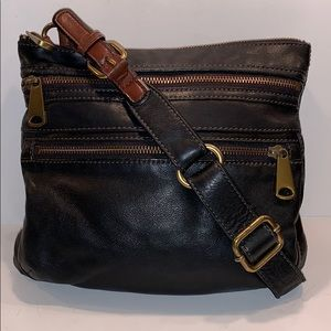 Fossil black/brown leather 3 zipper crossbody bag